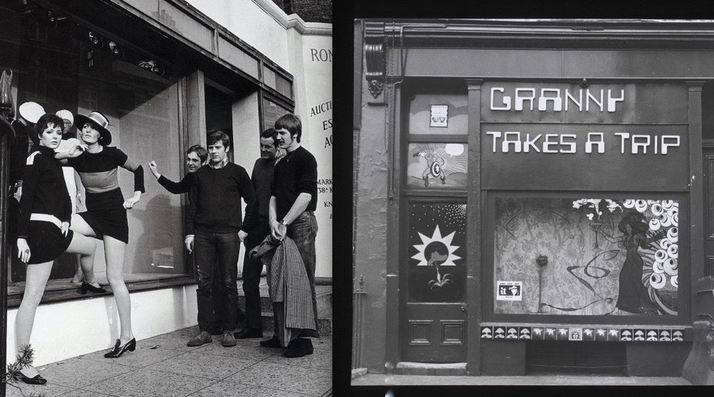 MARY QUANT, who invented the mini-skirt, her shop BAZAAR and the boutique GRANNY TAKES A TRIP on the King's Road.