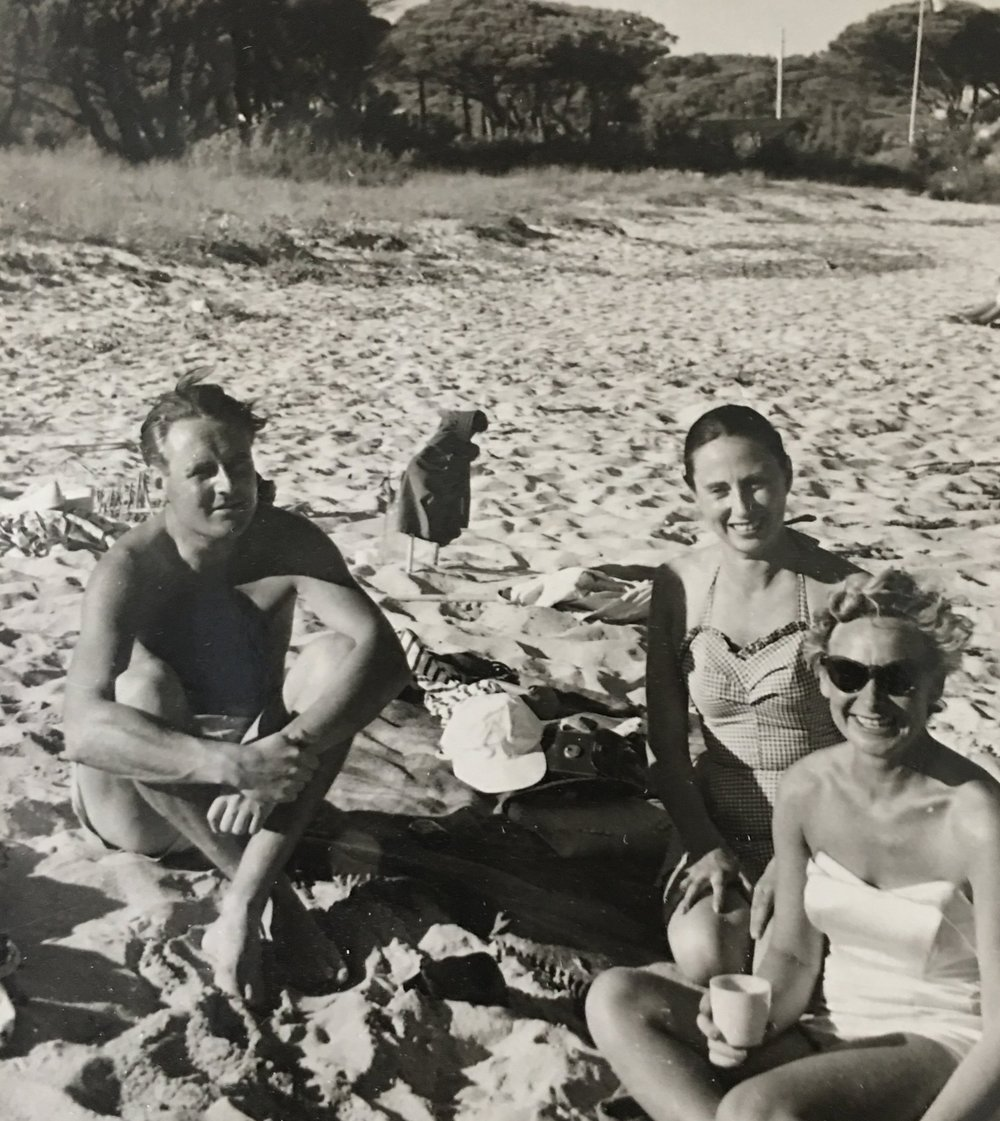 FATHER, AUNT OLIVE,  AND MY MOTHER ON THE BEACH IN ST TROPEZ