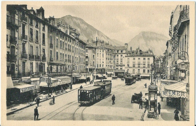 THE OLD  PLACE GRENETTE  IN GRENOBLE -  Alps in the background