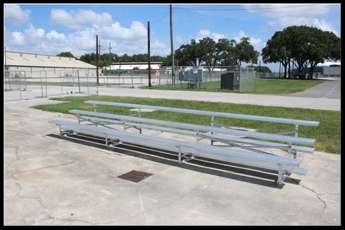 Non-Elevated 3 Row Aluminum Bleacher