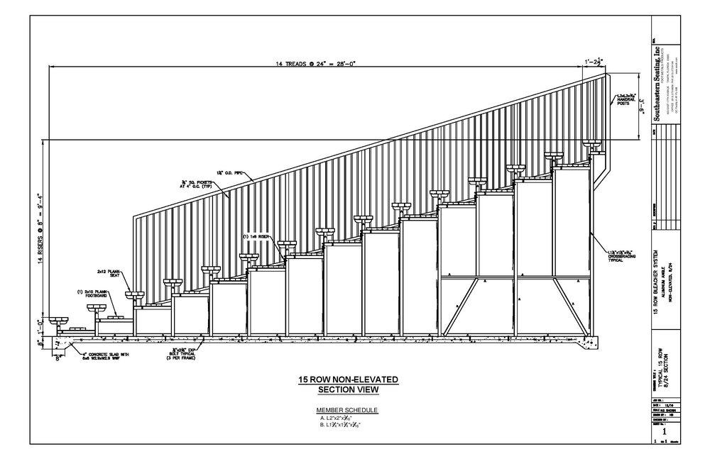 15 Row Aluminum Bleacher CAD (w/Aisle)