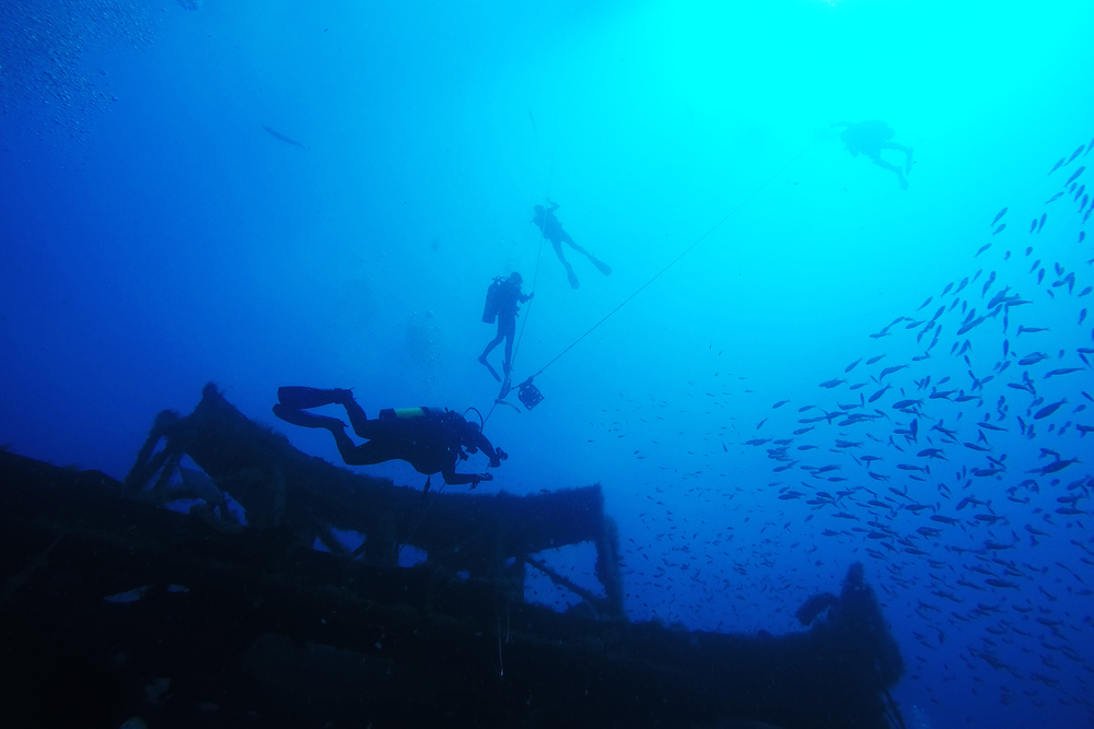 Divers explore the Aeolus wreck, located 25 miles off the coast of Beaufort, NC.