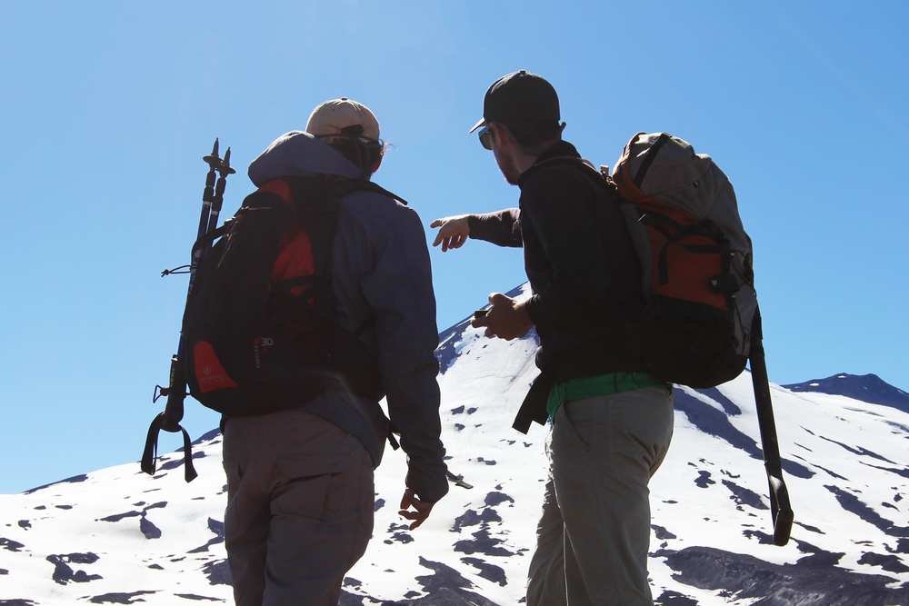 Armando Pineda (left) and Dylan Mikesell navigate the western face of Llaima.
