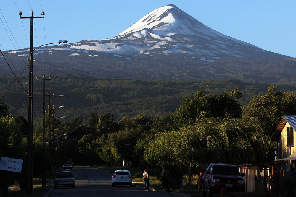 The Llaima volcano, seen from the main drag of Melipeuco, Chile, population 5,628.