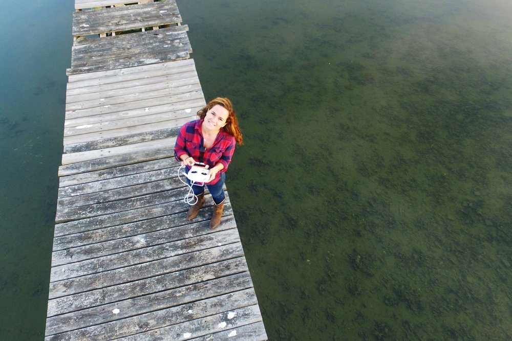 Flying the drone over the water for the first time, off my parents' dock in Masonboro Sound.