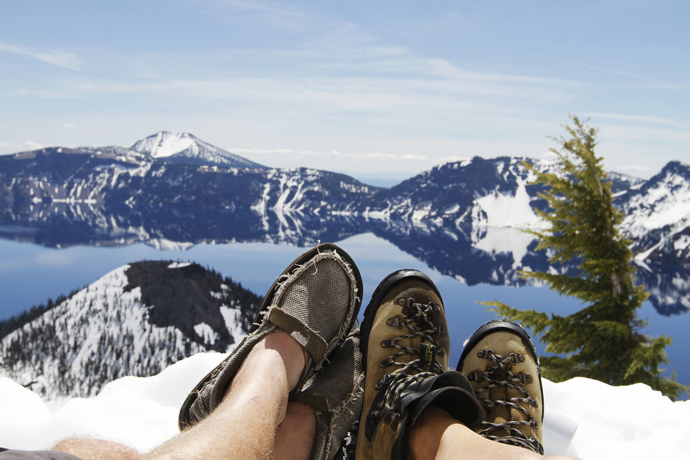 Kicking our feet up on the west rim of Crater Lake.