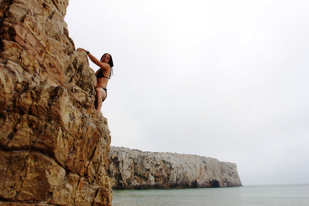 Gia Branciforte scales a rock wall  | Sagres, Portugal