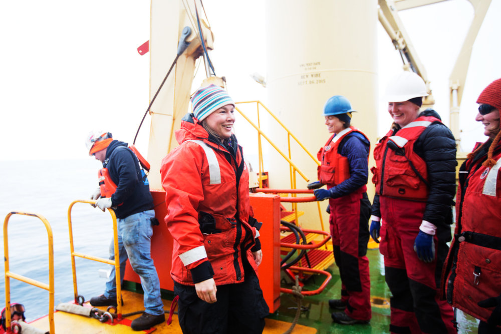 Laura Reynolds smiles as she steps back on board the Laurence M. Gould after being evacuated from Joinville Island.