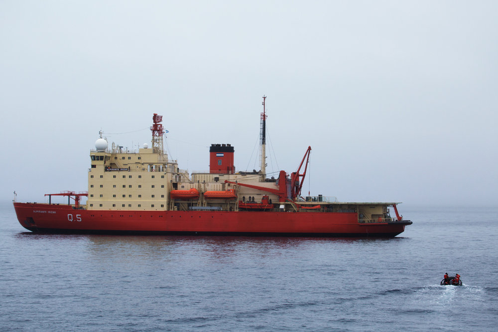 By the afternoon of March 12th, the Laurence M. Gould returns to open water to rendezvous with the Argentinian vessel, Almirante Irizar.