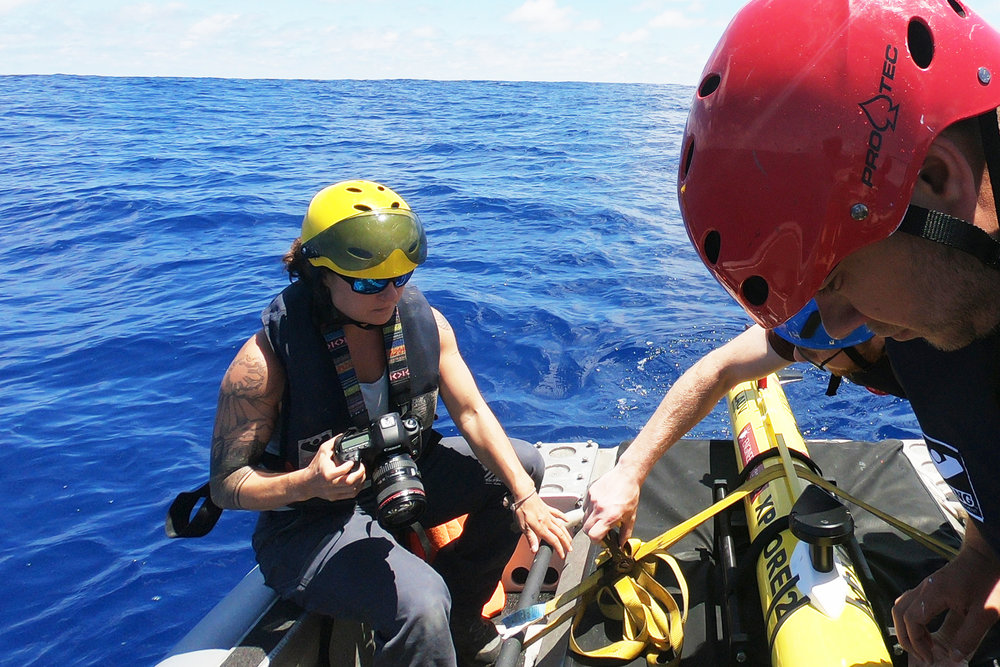 Hold steady.  Documenting Hans and Lance as they get ready to deploy the LAUV from the work boat.
