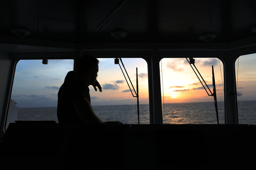 Chief Officer Jason Garwood watches the sunrise from the bridge of R/V  Falkor .