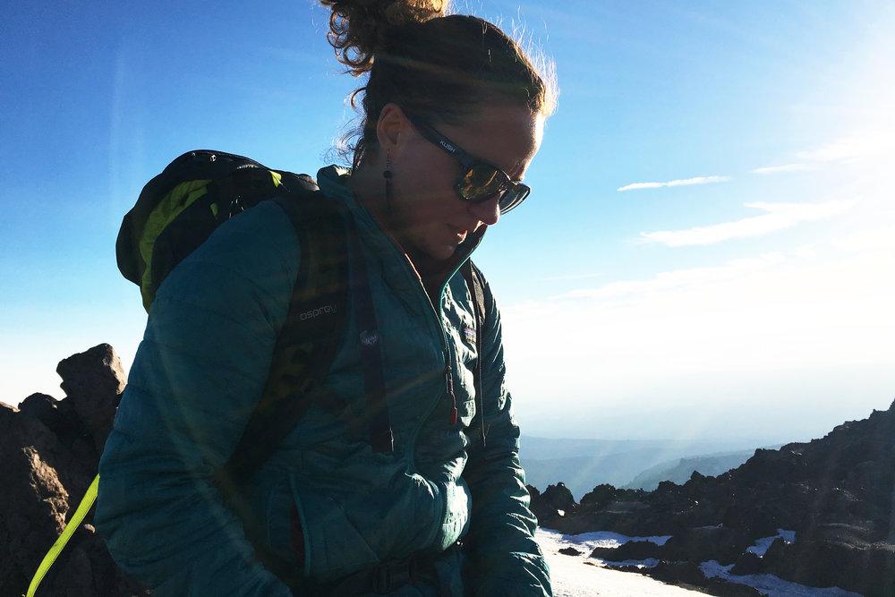 On the summit of Mt. Lassen (elevation 10,463 feet)in northern California.