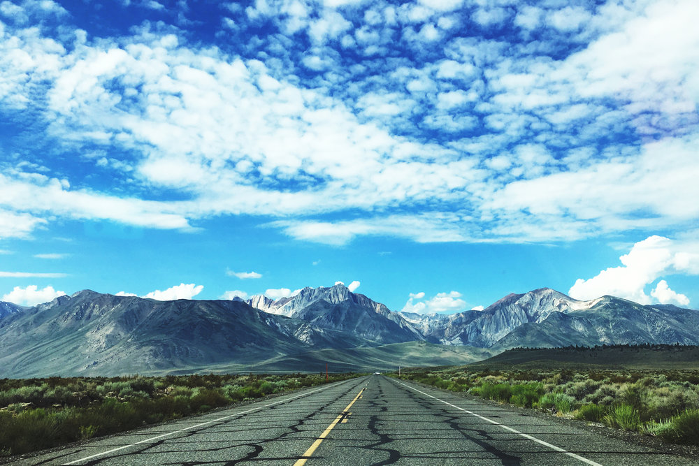 Cruising towards the eastern Sierra Nevada mountains in central California.