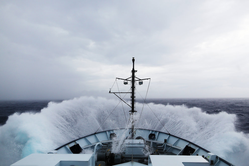 Navigating through rough seas in the Eastern Tropical Pacific during hurricane season.