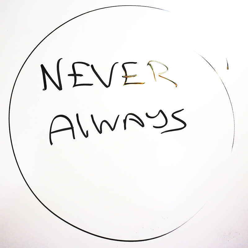 "Never | Always.  ""These two words don't often apply in our world,"" Randy says. ""Unless we're talking about diabetes.  Never  give a diabetic patient insulin.  Always  give sugar."""