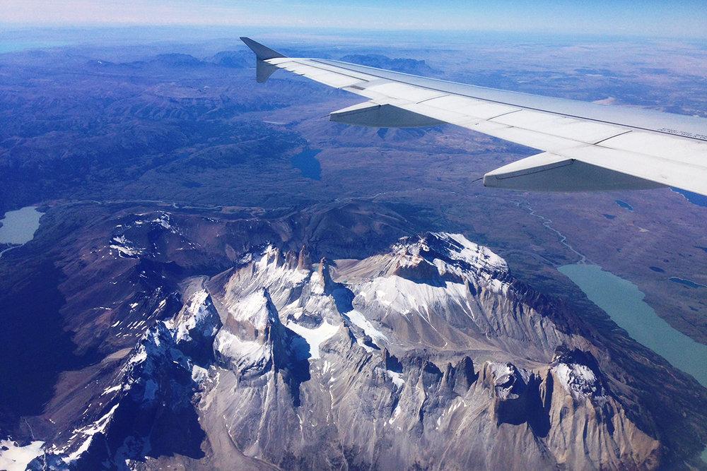 Flying over Torres del Paine en route to Antarctica