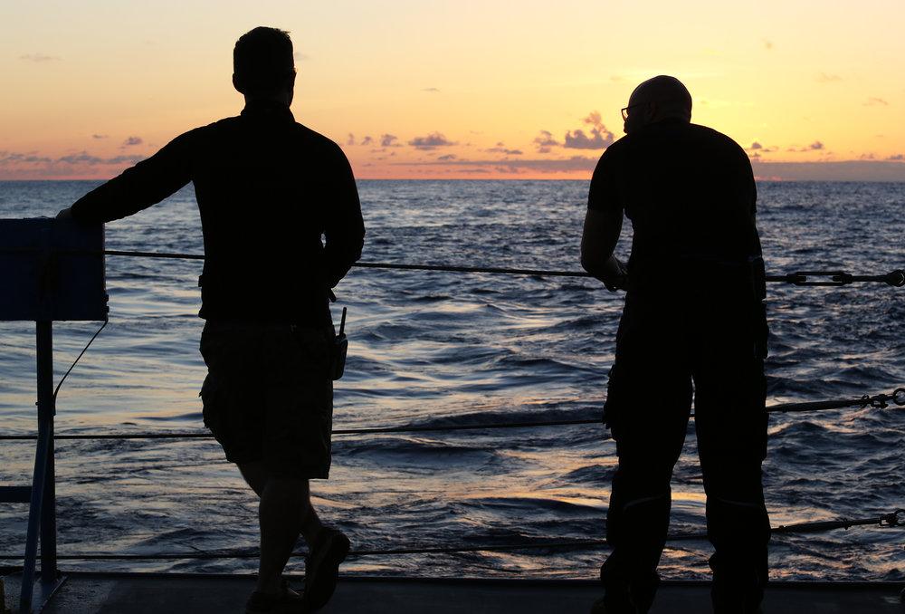 Enjoying one of many epic sunsets on the aft deck of R/V  Falkor  | June 2018
