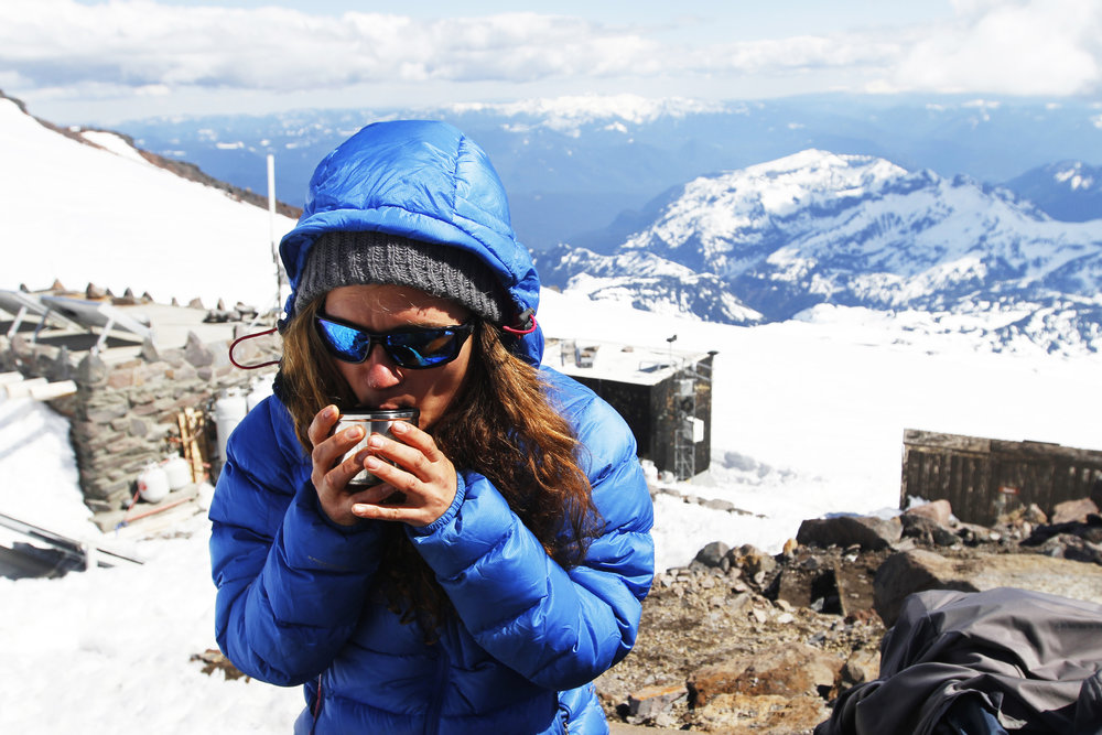 Taking a break from climbing to savor tea time at Camp Muir on Mt. Rainier.