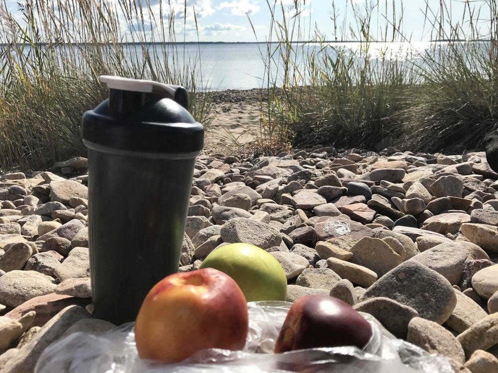 Eilisen retken eväshetki. Nesteenävettä, sitruunaa ja spirulinaa. Omena ja kaksi nektariinia. Näin helppoa on lähteä retkelle, hedelmät reppuun ja menoksi. Ja maistuu hyvältä ja antaa energiaa retkeen.