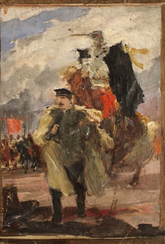 Soviet Civil War Scene, Artist Unknown, Soviet Union, oil on canvas, 1950s