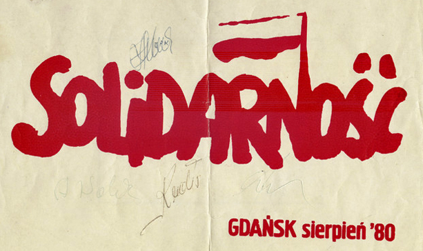 "The very first ""Solidarity"" (1980) imprint by Jerzy Janiszewski, signed by Solidarity leader Lech Walesa (Courtesy Charles Krause/Reporting Fine Art)"