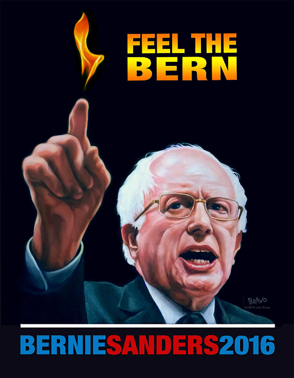 "B3 Joe Bravo, Feel the Bern, 2016 Acrylic on canvas 18x24"" Printed Poster 18""x24"""