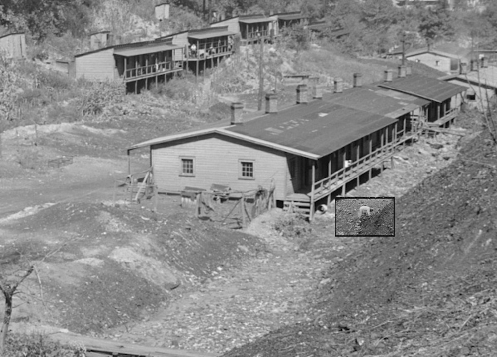 Composite of Ben Shahn's 1935 photograph (cropped for detail) from Cassville and Marion Post Wolcott's 1938 photograph (inset) from Cassville showing a woman picking coal from a slate dump. The composite is not exact, but I believe points to this being the same location.