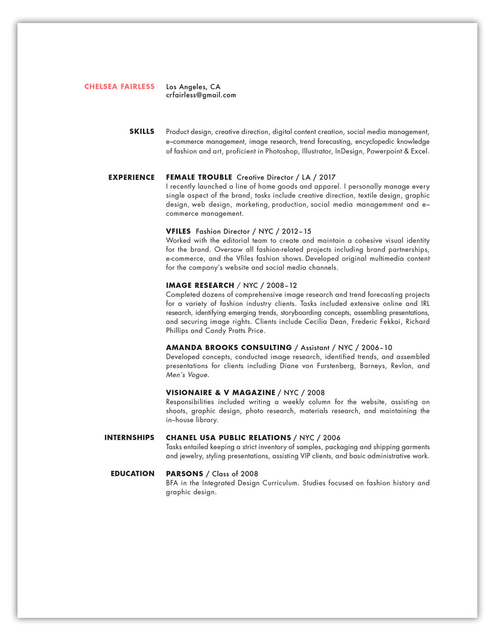 Resume — Chelsea Fairless