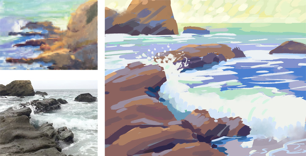 I created digital composition and color sketches. I wanted to try and use all of my skills to my advantage, and I work very quickly within photoshop, so it was a perfect place to iterate and come up with ideas.