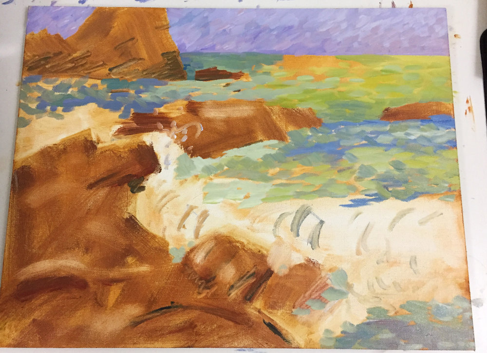 I started to lay in the base colors of the ocean, I knew that I was going to paint over whatever i put down first, so i made sure to choose colors that would pop nicely as an underpainting. I wanted to have a feeling of impressionism with colors mixing optically on the canvas.