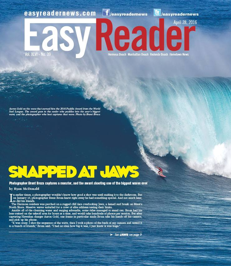 April 28, 2016 - Easy Reader Cover - Aaron Gold at Jaws-