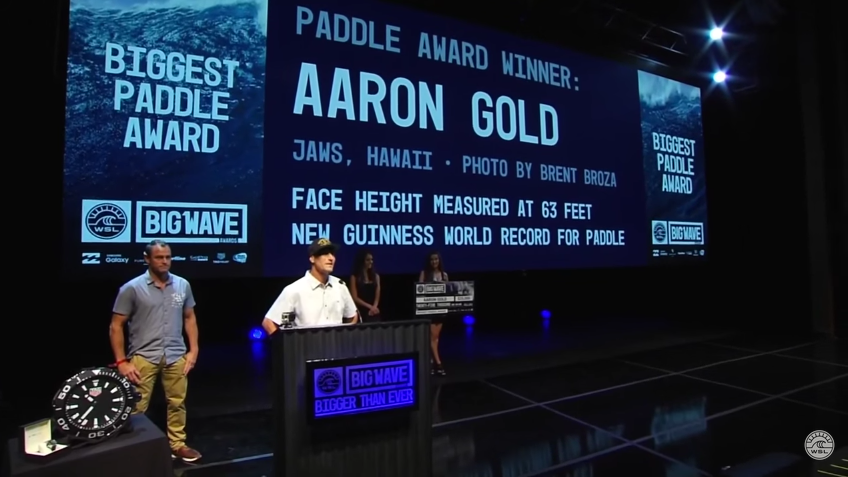 April 5, 2016 - WSL Big Wave Awards - Winning photo of Aaron Gold for the biggest wave ever paddled into by a surfer. New Guinness World Record at 63 feet