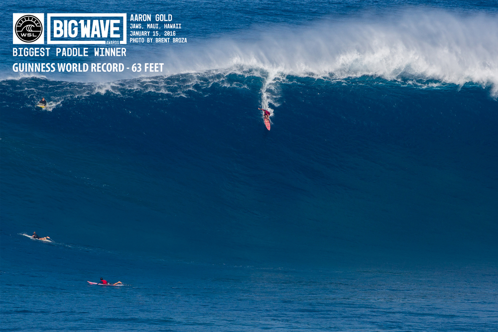 April 5, 2016 WSL Big Wave Awards -  Winning photo of Aaron Gold for the biggest wave ever paddled into by a surfer. New Guinness World Record at 63 feet.