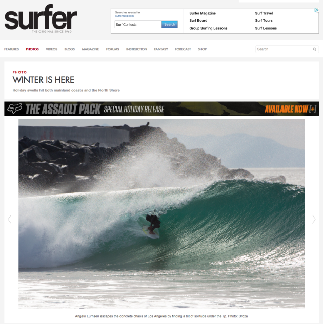 December 2, 2013 - Surfer Magazine - Angelo Luhrsen