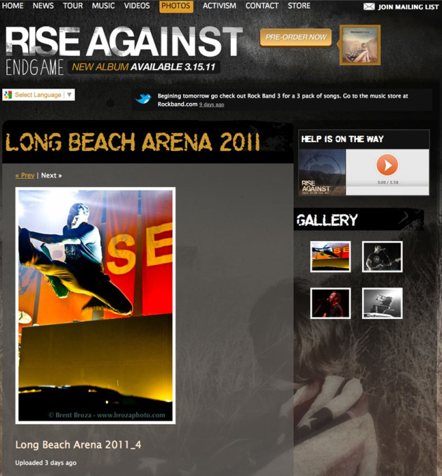 April 11, 2011 -Rise Against Website