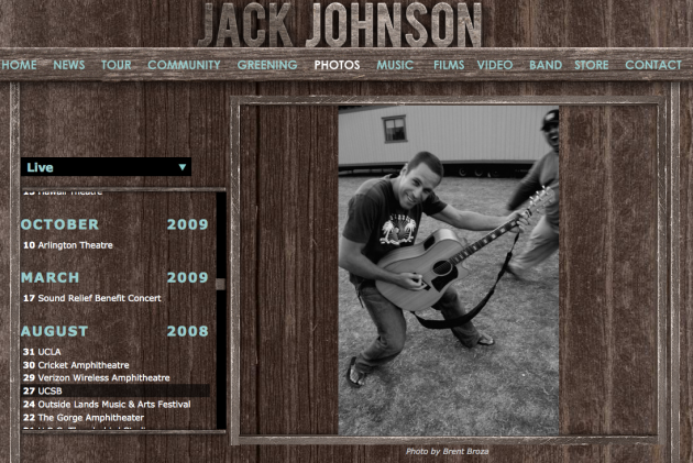 August 2008 - Jack Johnson image for his En Concert album booklet