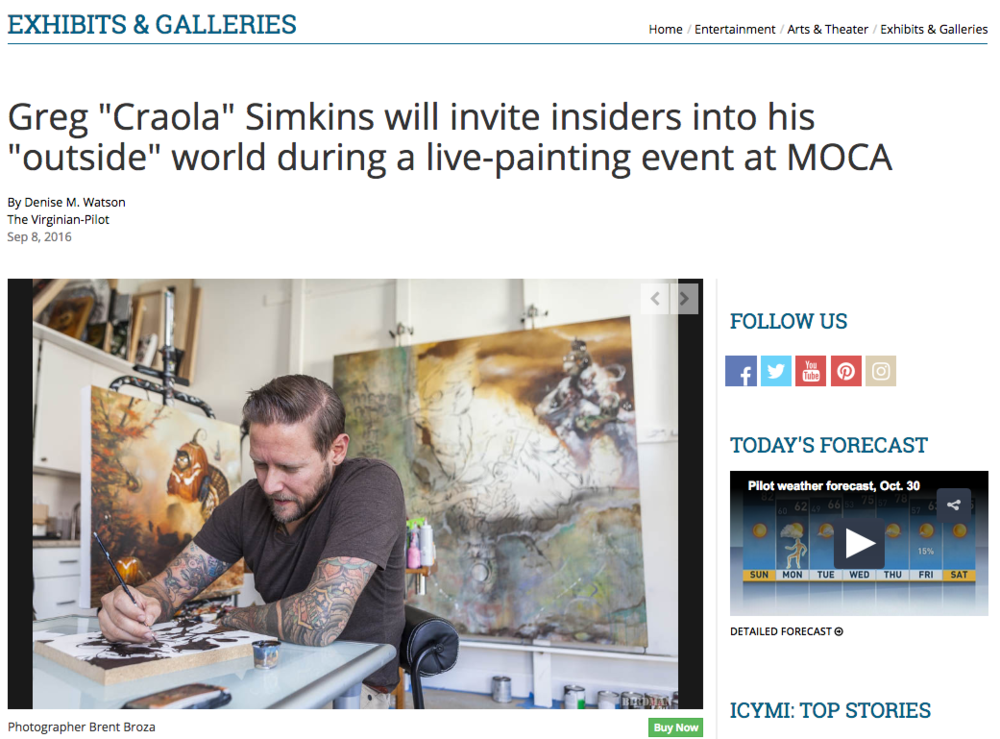 September 8, 2016 - The Virginian Pilot - CRAOLA live painting at MOCA