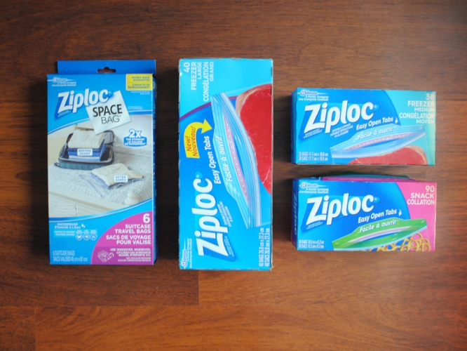 packing with ziplock bags