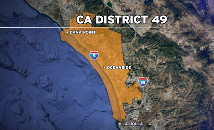 CREDIT: KPBS  Above: A map shows the boundaries of the 49th Congressional District, which includes coastal communities in Orange and San Diego counties, January 2018.