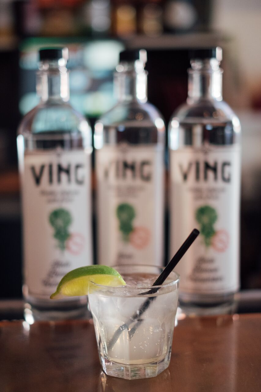 FARM FRESH KALE, LEMON PEEL, CUCUMBER - Clean, farm fresh and gluten-free, VING is the worlds first and only ultra premium spirit to combine the rich, peppery undertone of kale, the crisp freshness of lemon peel and the gentle, sweet finish of cucumber. VING's multiple filtrations of our organic corn spirit, and distillation in our copper pot still results in VING's silky, smooth texture. We hand pick the finest produce and artfully balance every small batch for our unique flavor without any use of sugars or additives. Made in Ventura, CA. VING, the only fresh vodka. Live enlightened!Ingredients: Purified water, Organic Neutral Spirits from Corn, Organic Kale, Organic Lemon, Organic Cucumber. Serving Facts: Serving size: 1.5 fl oz (44ml); Servings per container: 17;  Amount Per Serving: Alcohol by volume: 40% (80 proof); Fl oz of alcohol: 0.6; Calories: 97; Carbohydrates: 0g; Fat: 0g; Protein: 0g; Sugar: 0g