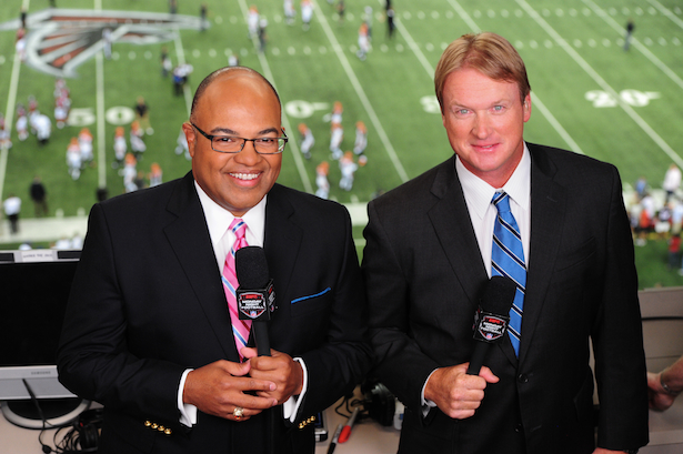 Happy Mike Tirico: a rare sight in 2017.
