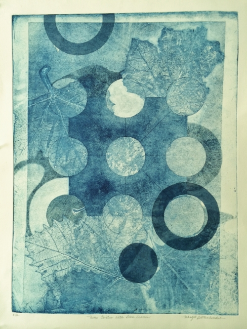 NINE CIRCLES AND BLUE LEAVES%2c 18x24in.JPG