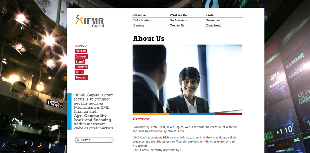 IFMR Capital - Inside page, Neat, Clean Minimal and VIsually driven.