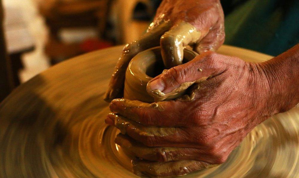 A terracotta potter