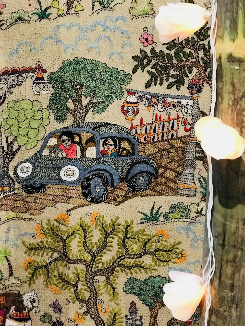A hand embroidered quilt