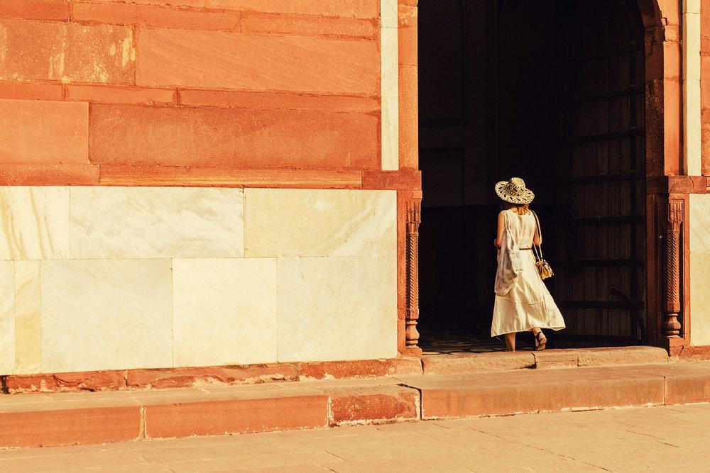 A guest exploring the monuments of Delhi