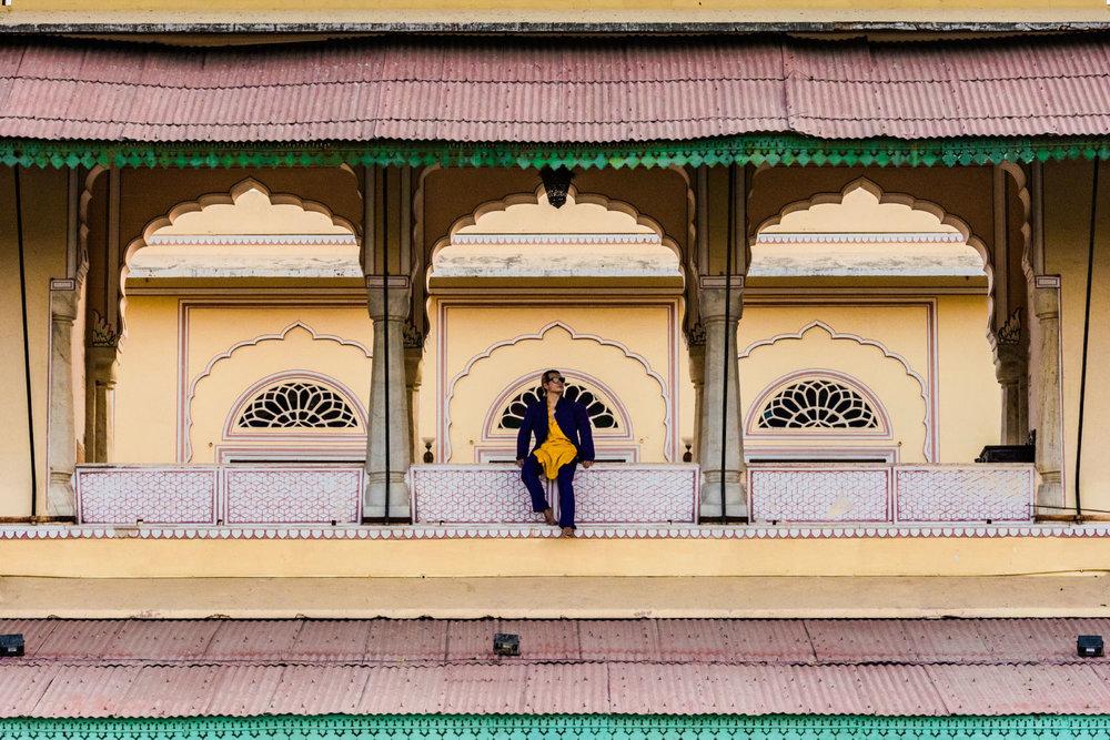 Striking a pose at Castle Kanota, Jaipur