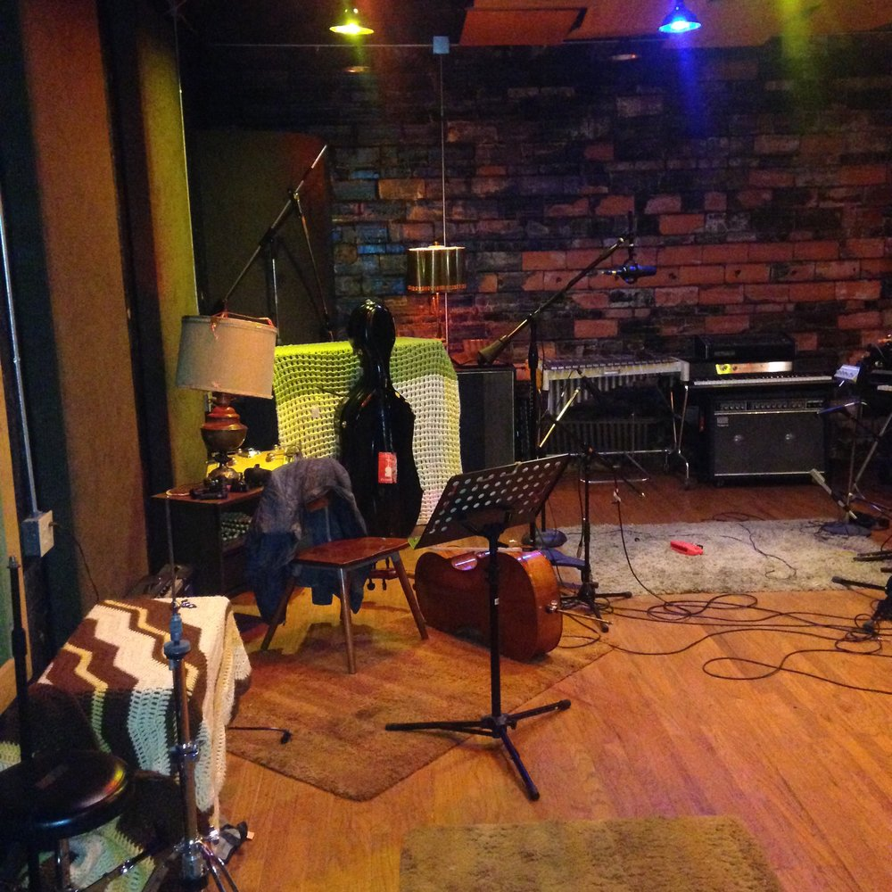 Set up and ready to lay down some cello tracks at Blackwatch Studios in Norman, OK.