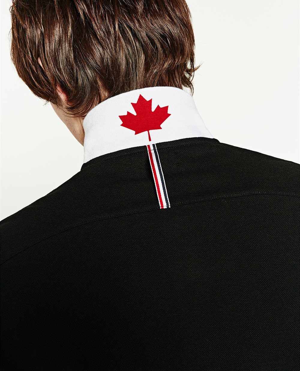 ZARA embroidered shirt Canadian maple leaf detail