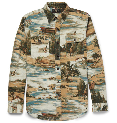 RRL brushed cotton shirt with wild west motif